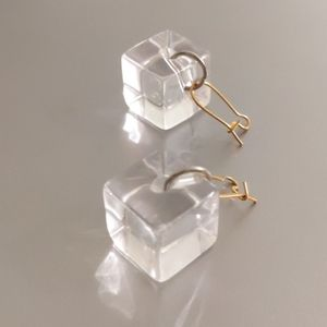 Clear lucite cube earrings